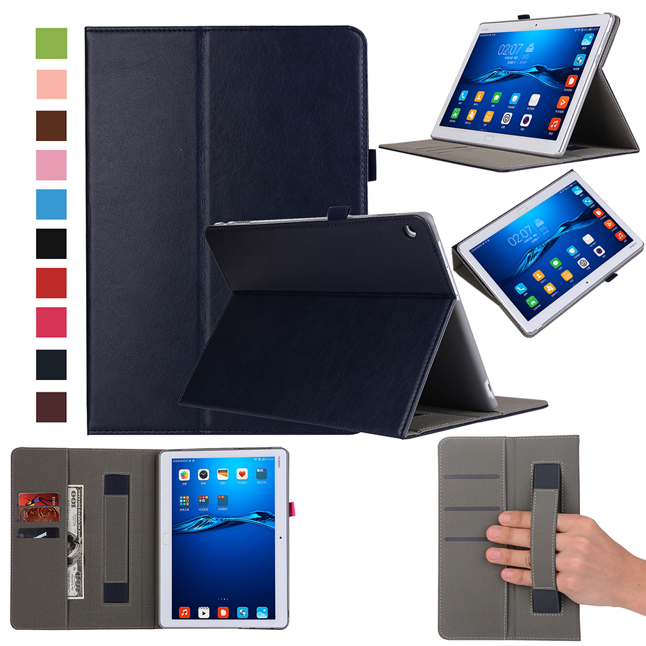 Flip Stand Case for Huawei MediaPad M3 Lite 10 WP Honor Waterplay 10.1 Smart Cover with Hand Holder Shockproof PU Leather Cases