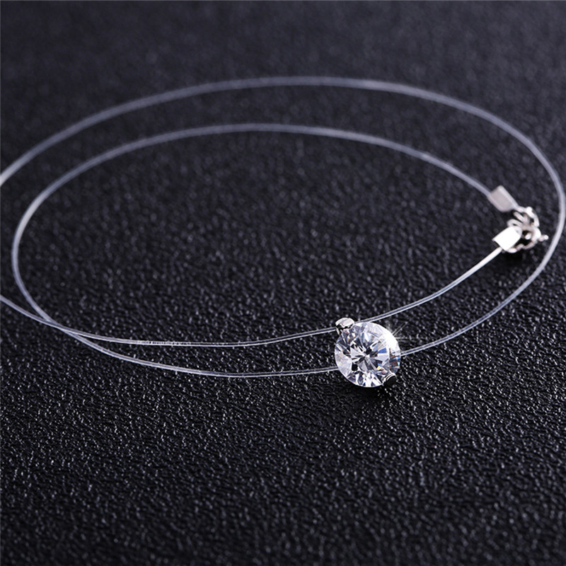 BOAKO New Transparent Fishing Line Necklace Clear Zircon Pendant Sparkling Choker Necklace Hot Selling Women Jewelry X7-M2
