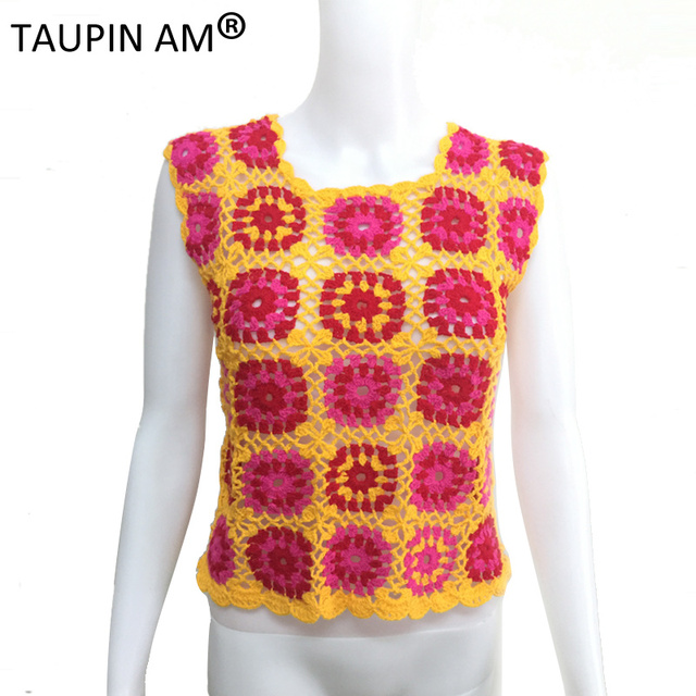 c601d67660 Openwork 100% handmade crochet floral tank tops Summer 2017 sleeveless  casual tops Sexy unique design knitted short top