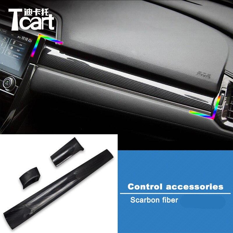 ABS Carbon Fiber Interior Shift Gear Box Trim Strip *2 For Honda CIVIC 2016-2018