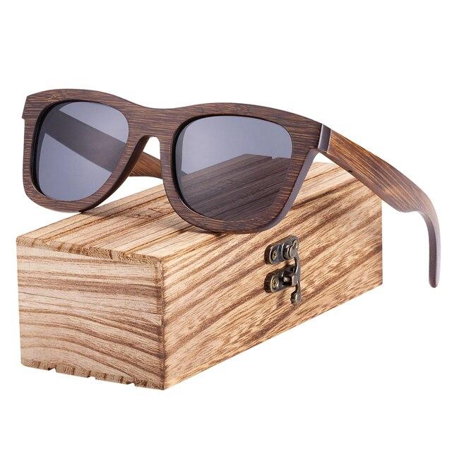 Gafas de sol de madera de bambú marrón UV400 1