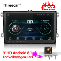 Новый 9 дюймов Автомобильный мультимедийный плеер Android 8 gps авто радио 2 Din USB для Volkswagen/VW/Passat/POLO/GOLF/Skoda/Seat/Leon радио