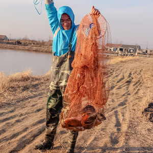 Image 2 - High Strength Small Mesh American Hand Cast Net with Sinkers Casting Fishing Network 240cm 300cm 360cm 420cm Dia. Fishing Tools