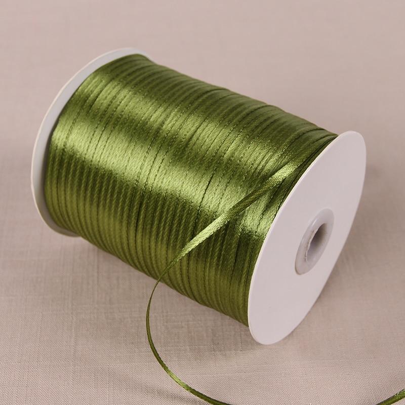 3 мм атласные ленты 22 м/лот DIY ручной работы товары для украшения свадьбы, дня рождения Подарочная упаковка белые ленты - Цвет: Армейский зелёный