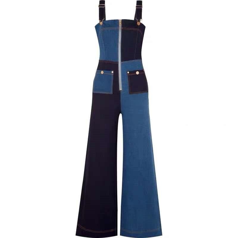 2019 Summer Newfashion Denim Playsuits Straps Slash Neck High Waist Women Jeans Overalls