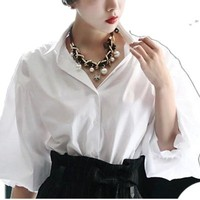 2015 New Korean Women Long Solid Color Lantern Sleeve Blouse Black And White Cotton Ol Shirt