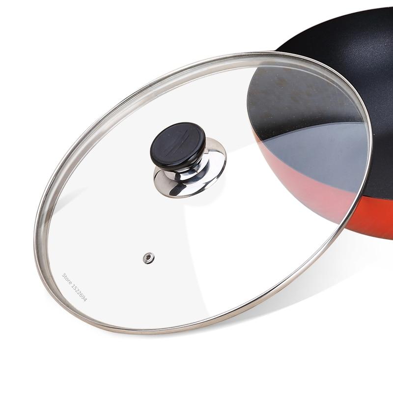 Kochgeschirr Verstärkt Glas Deckel Gehärtetem Wok Deckel Pyrex Glas Runde Chef Pan Deckel mit Knopf Premium Qualtiy Pan Abdeckung