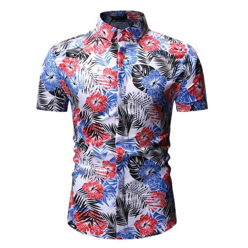 Мужская пляжная гавайская рубашка с цветочным принтом 2019 летняя новая гавайская рубашка с коротким рукавом мужская приталенная Повседневная рубашка Camisa Social Masculina