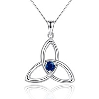 Natural Blue Sapphire 925 Sterling Silver Irish Knot Pendant Necklace for Women Birthstone Jewelry