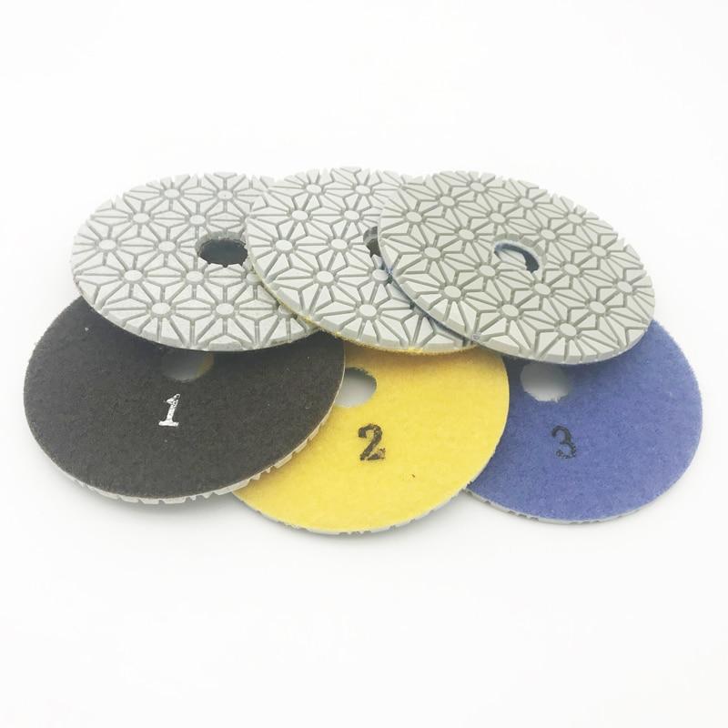 Tamponi per lucidatura a secco / a secco diamantati da 4 pollici 100 mm Set di 3 fasi Quarzo Granito Vetro Vetro Marmo Ceramica Pietra gialla microcristallina