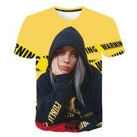 Новинка 2019 г. Billie Eilish, модные футболки в стиле хип-хоп с 3d принтом, летняя футболка с короткими рукавами для мужчин и женщин, 3D футболки, толст...