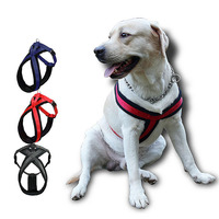 Soft Nylon Padded Strap Solid Color Adjustable Dog Hardness Double Layer Leashes Dog Cat Vest Lead