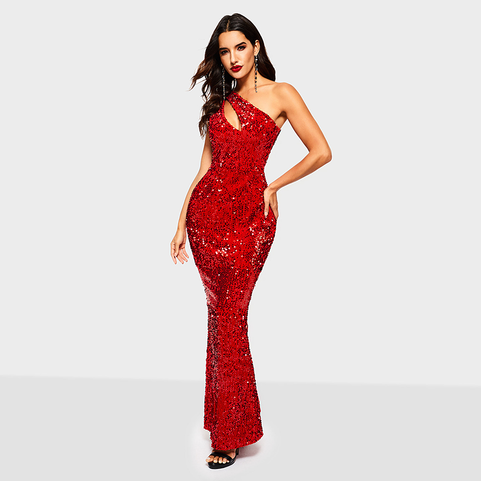 Dressv red evening dress cheap one shoulder sleeveless mermaid floor length wedding party formal dress evening dresses