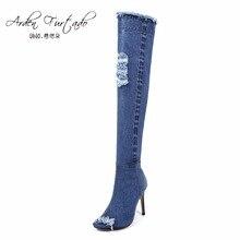 e086099b458ae 2017 botas de mezclilla azul sobre la rodilla muslo botas altas de verano  botas altas hasta la rodilla para mujeres tacones alto.