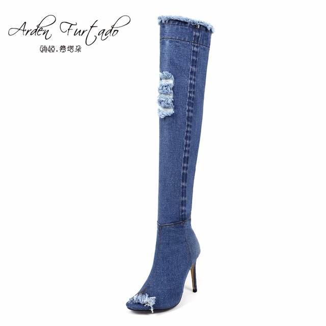2017 blue denim boots over the knee thigh high boots summer knee high boots for women high heels women shoes tassel jeans boot
