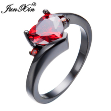 JUNXIN Female Heart Ring Fashion Style Black Gold Filled Jewelry Vintage Wedding Rings For Women Girlfriend Gifts