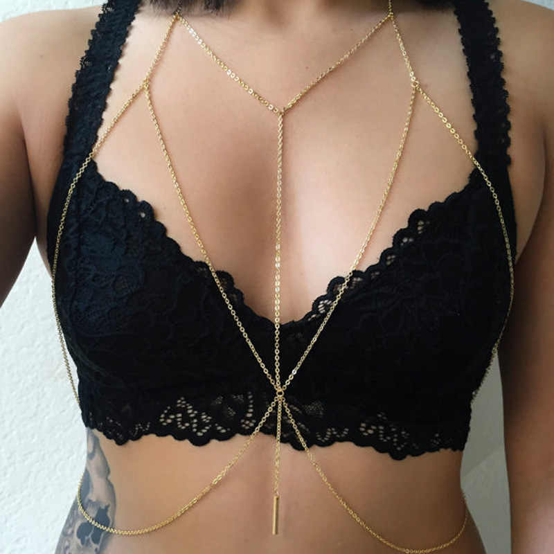 2017 Fashion Women Sexy Bra Necklace Retro Double Chains For Women Fashion Bikini Body Chains Summer Beach Party Jewelry
