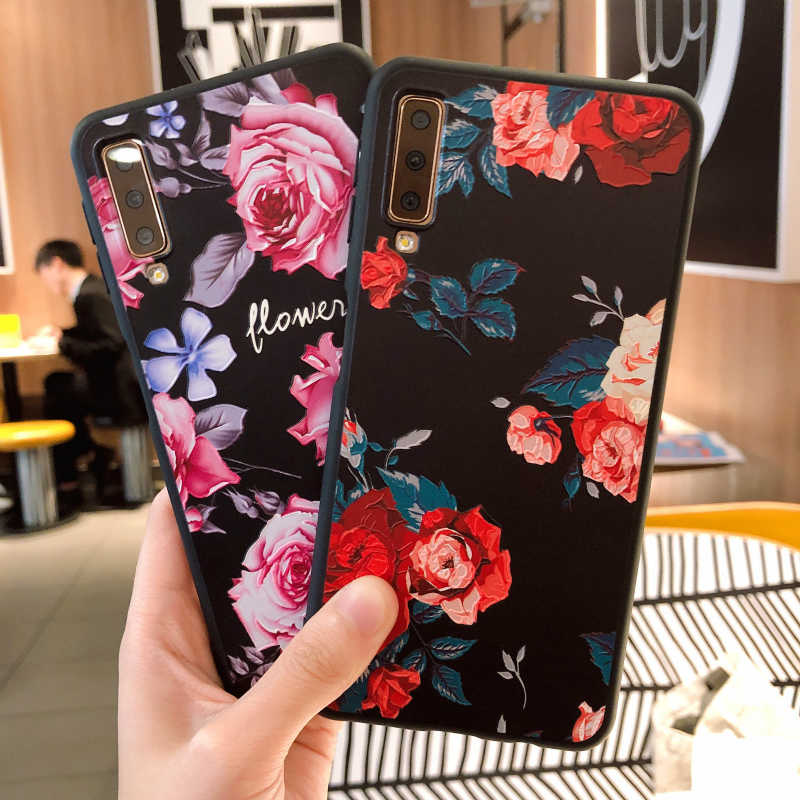 Case For Samsung Galaxy A7 2018 Case S7 Edge S9 Plus A3 A5 A7 2016 2017 J2 Pro J3 J7 2018 J3 J5 J7 TPU Silicon Flower Back Coque