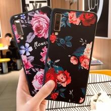 Caso para Samsung Galaxy A7 2018 S7 borde S9 más A3 A5 A7 2016 2017 J2 Pro J3 J7 2018 J3 J5 J7 TPU funda de silicona flor Coque