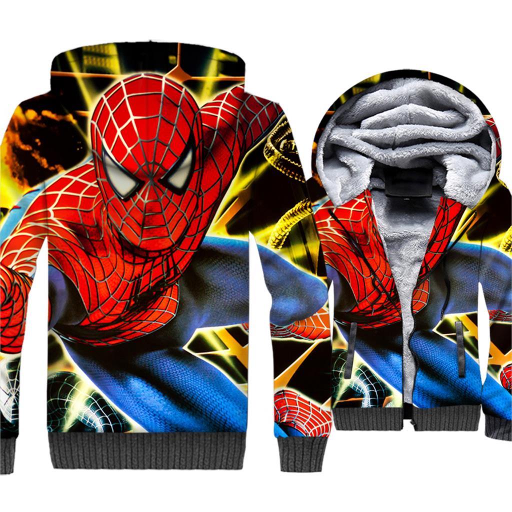 Spider Man Jacket Men 3D Print Hoodie Super Hero Hooded Sweatshirt Winter Thick Fleece Warm Zip up Coat Hip Hop Streetwear Mens