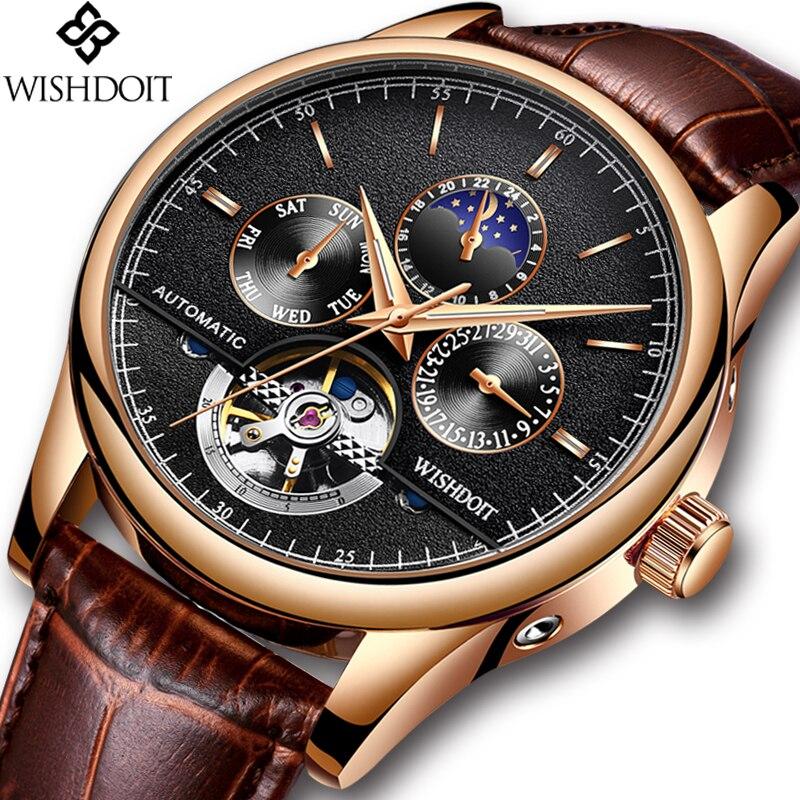 LIGE Brand Men Watches Automatic Mechanical Watch Tourbillon Sport Clock Leather Casual Business Retro Wristwatch Relojes Hombre цена