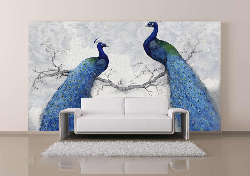 3D photo wallpapers modern art painting Chinese living room bedroom TV backdrop bird Peacock Magnolia large mural wallpaper pink romantic sakura reflection large mural wallpaper living room bedroom wallpaper painting tv backdrop 3d wallpaper