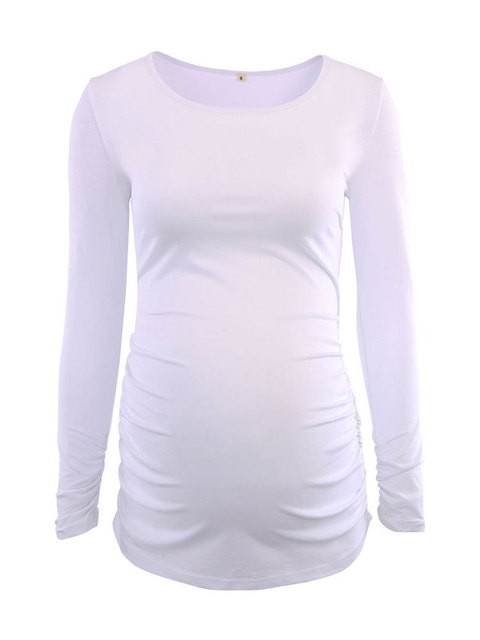 0faa7bfe284 Women's Blouse Maternity Tunic Tops Mama Clothes Flattering Side Ruching Long  Sleeve Scoop Neck Pregnancy T-shirt for Women