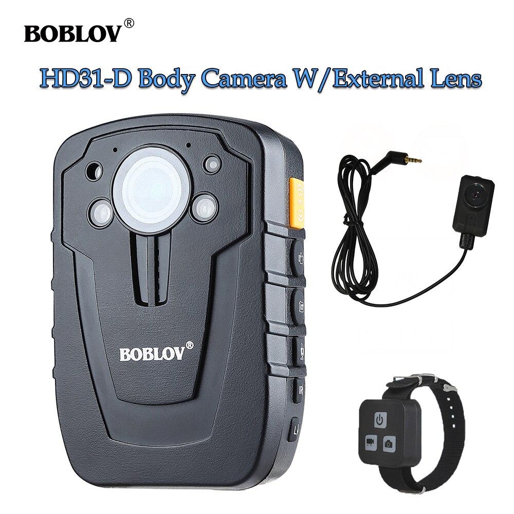BOBLOV HD31-D Wearable Police Body Camera Ambarella A7 32GB 64GB GPS Remote Control Security Mini Camera With External Lens