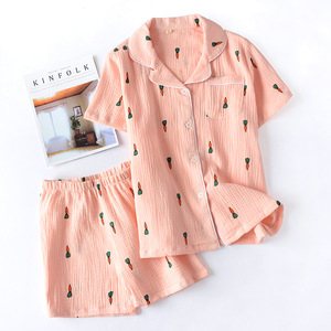 Image 2 - Double Layer Cotton Gauze Crepe Short Sleeve Shorts Pajamas for Women Plus Size Pyjamas Cartoon Printing Sleepwear Home Clothes