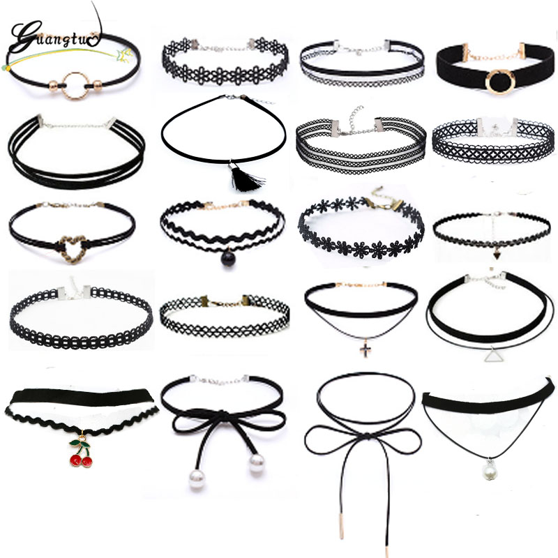 New Gothic Black Lace Leather Velvet Tattoo Choker Necklaces For Women Collar Party Jewelry Neck Accessories