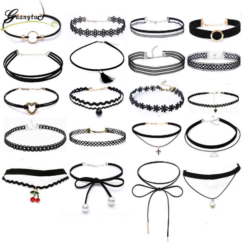 New Gothic Black Lace Leather Velvet Tattoo Choker Necklaces For Women Collar Party Jewelry Neck Accessories Chokers Collares