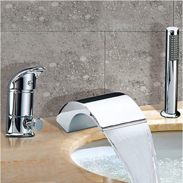 Chrome Finish Brass Waterfall Widespread Tub Faucet Mixer Tap With Hand Shower thermostatic valve mixer tap w hand shower tub spout tub faucet chrome finish