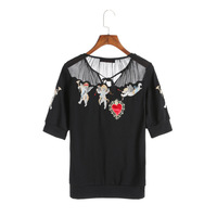 2018 Spring Women Cupids Embroidery Black Mesh Tops T Shirts Short Sleeve Lace Up Tee Shirts