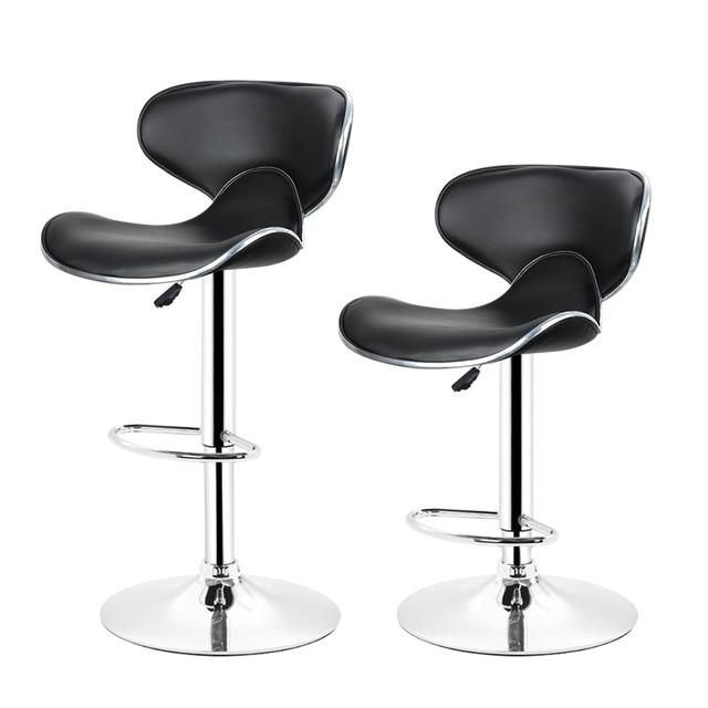 Jeobest 2pcs Adjule Swivel Barstools Modern Pu Leather Saddle Back Design Bar Stool Chair