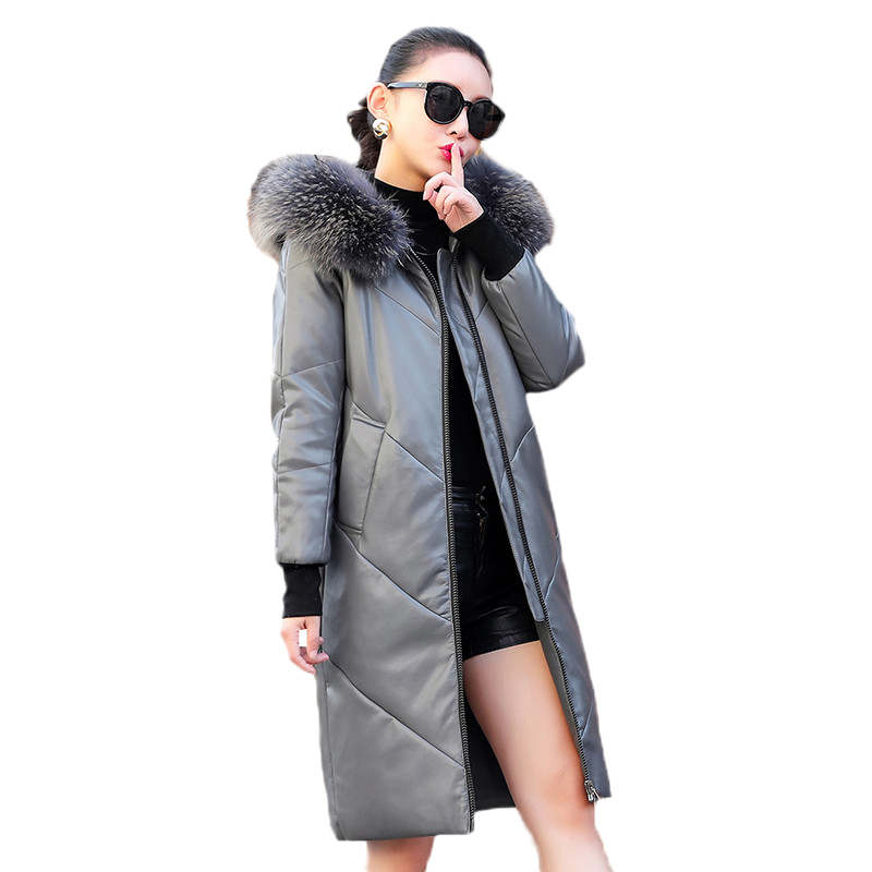 2019 New Sheepskin Jacket Women Fashion Leather Down Overcoat Medium Long Large Size Hooded Jacket Winter