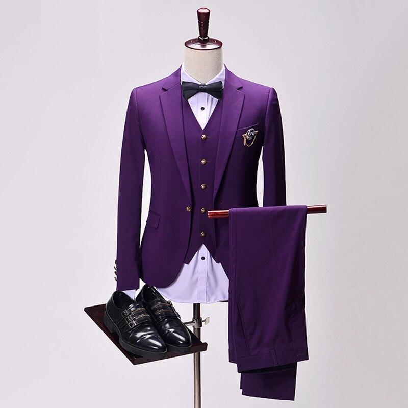 Custom Three Pieces Tuxedo Solid Purple Black Men Wedding Suits ...