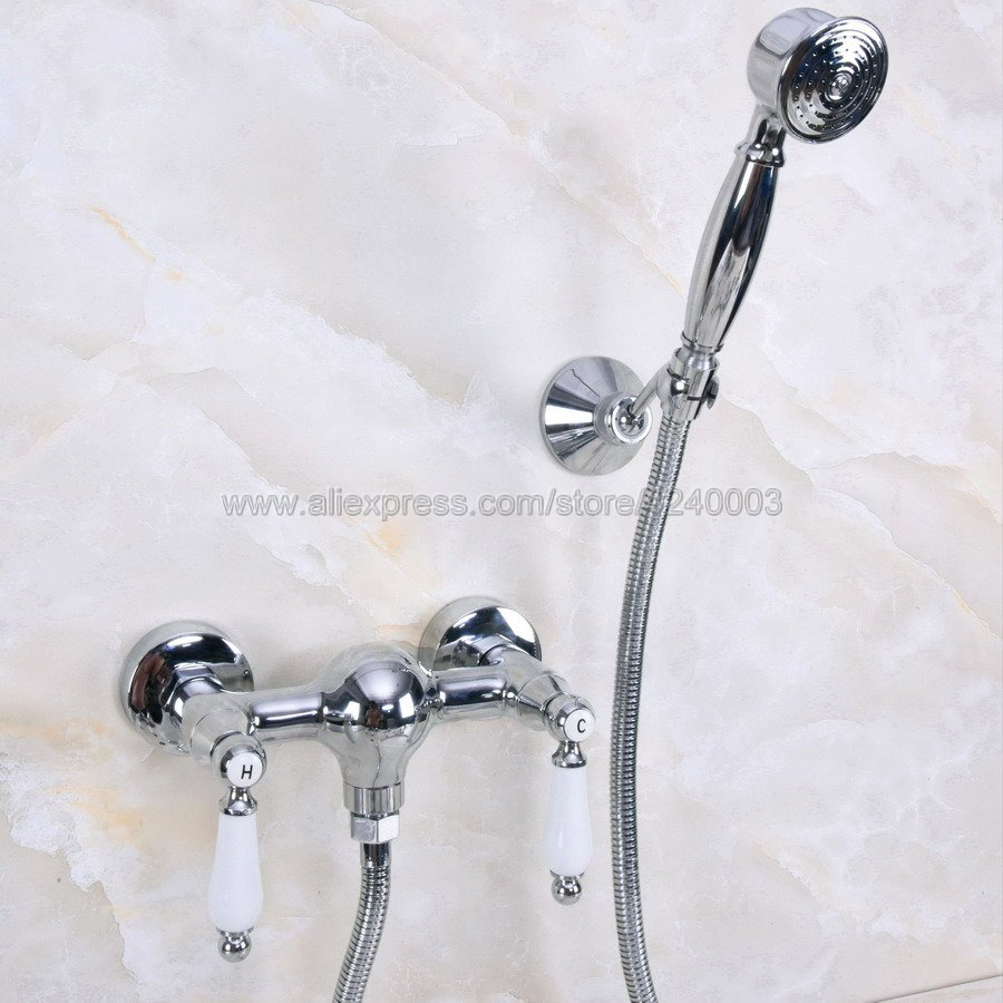 Polished Chrome Bath Faucets Wall Mounted Bathroom Basin Mixer Tap Crane With Hand Shower Head Bath & Shower Faucet Kna283Polished Chrome Bath Faucets Wall Mounted Bathroom Basin Mixer Tap Crane With Hand Shower Head Bath & Shower Faucet Kna283