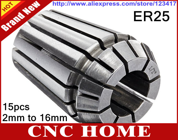 1 Full Set 15pcs from 2 0mm to 16mm ER25 Collet Spring Chuck Step 1mm 0