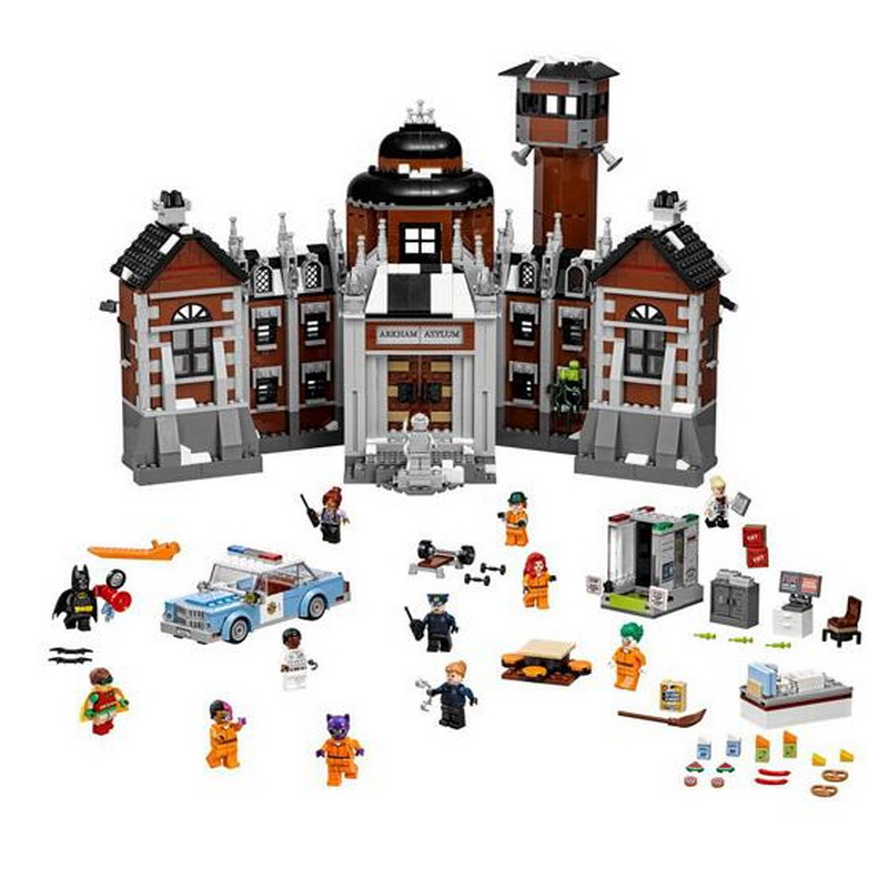 07055 LEPIN Batman Series Arkham Asylum Model Building Blocks Classic Enlighten DIY Figure Toys For Children Compatible Legoe lepin 07055 batman series arkham asylum model building block compatible legoe 1628pcs toys for children