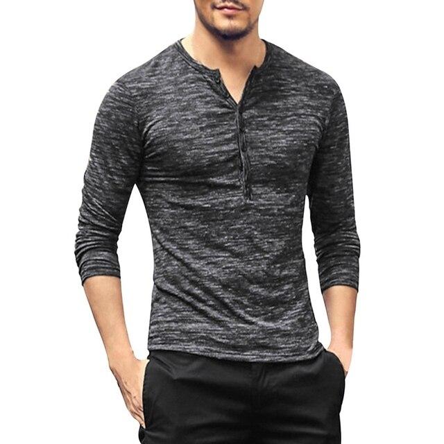 b5a0198ee1b8 New Men Henley Shirt 2018 New Tee Tops Long Sleeve Stylish Slim Fit T-shirt  Button Placket Casual Men Outwears Popular Design