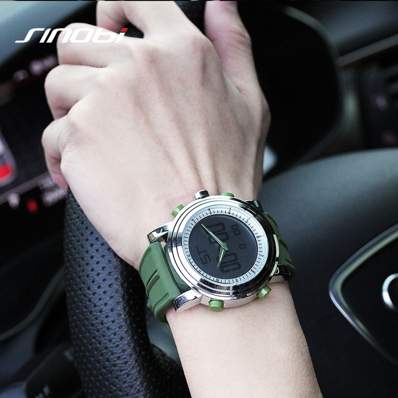 SINOBI Wristwatches Digital Sports Clock Quartz Men Men's Relogio Masculino LED Rubber