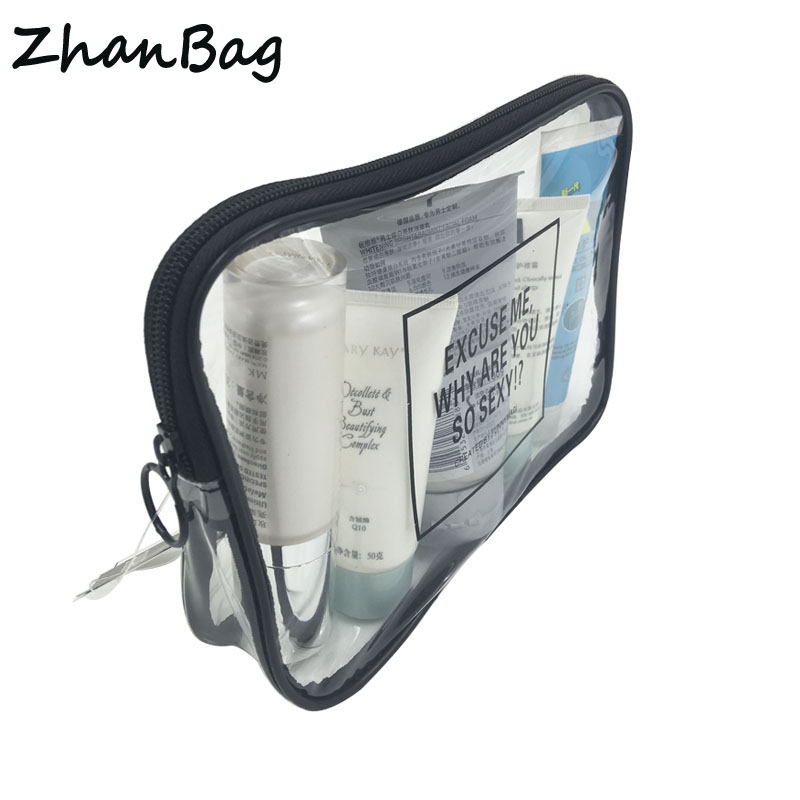 ZhanBag New Simple Fashion Transparent PVC Cosmetic Bag Portable Storage organizer Travel Wash Bag VIP Beautician Makeup Box цена и фото