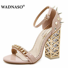 WADNASO New Summer fashion Roman chain rivet Women Pumps Shoes Sexy High heels Crystal with Buckle Party Woman Sandals Eu 34-40