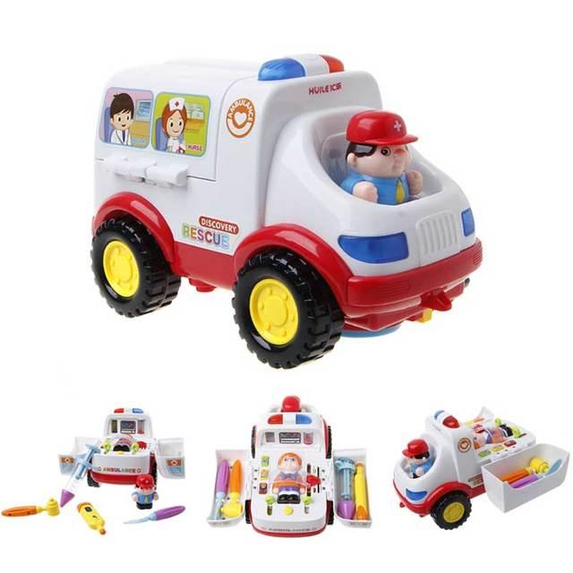 Child ambulance model medical theme light music electric plastic toy ambulance baby learning simulation doctor set electric New