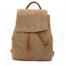 Модные женские туфли в богемном стиле повседневные соломы тканые рюкзак высокое качество женщины сумка пляжная сумка рюкзак Mochila Escolar feminina