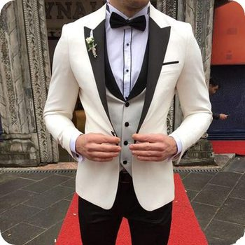 Stylish Design One Button Ivory Groom Tuxedos Groomsmen Peak Lapel Mens Suits Blazers (Jacket+Pants+Vest+Tie) W:1136