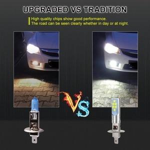 Image 4 - 2 pçs h1 h3 lâmpada led super brilhante 12 3535smd luzes de nevoeiro do carro 12v 24v 6000k branco dia condução correndo lâmpada automóvel