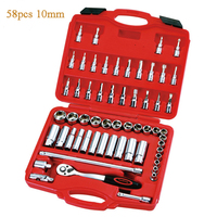 58pcs/set Combination Of Machine Tools 3/8 10mm Series Of Metric Sleeve Tools Socket Wrench Combination Tool Hand Tool Set