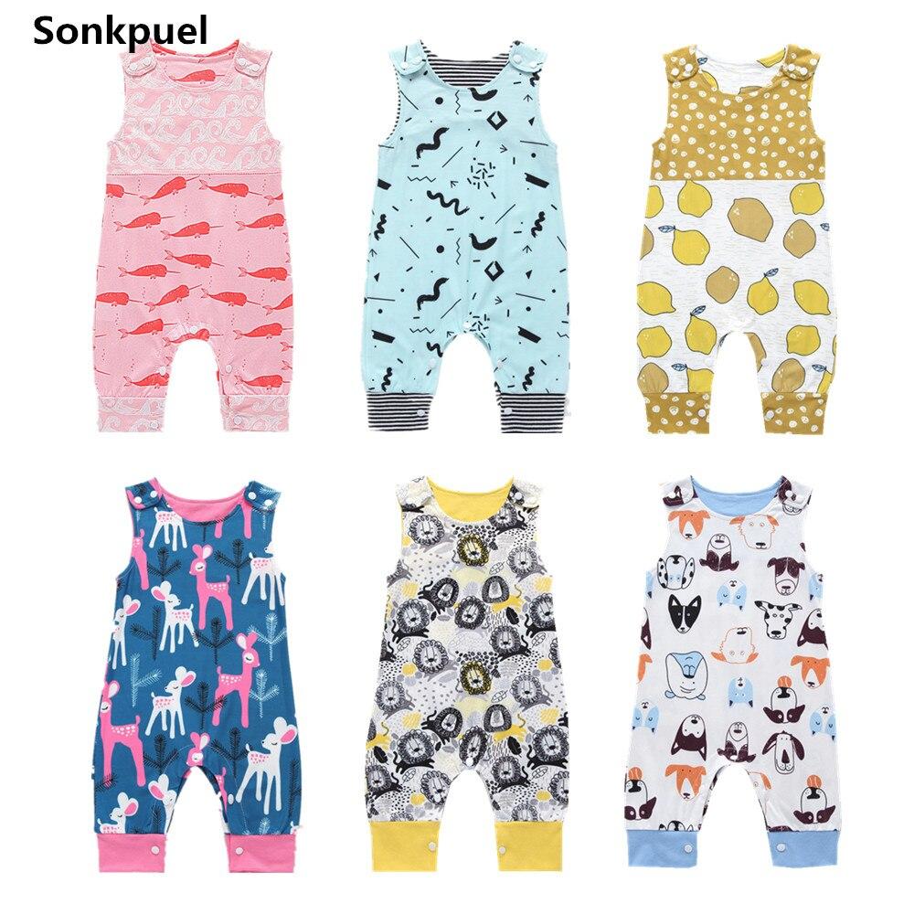 0-24 M Neugeborenen Baby Kleidung Sommer Kleinkind Mädchen Strampler Kleidung 2019 Kleinkind Junge Ärmellose Overall Säuglingsspielanzug Baby Outfit Volumen Groß