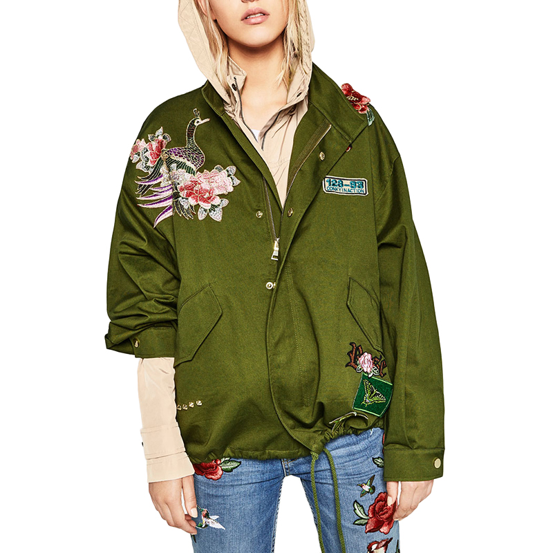 Basic Jacket Women Fashion Spring Style Womens Jackets Luxury Flower Embroidery Womens Loose Casual Army Green Coat